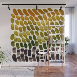 Olive Green Yellow Ochre Colorful Primitive Pattern Watercolor Scales Abstract Wall Mural
