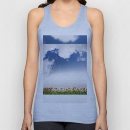 Red and yellow tulips and cloudscape Unisex Tank Top