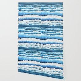 Watercolour waves crashing on the shore Wallpaper