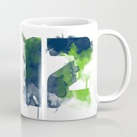 seahawks Mugs featuring 12th man by Corina Rivera Designs