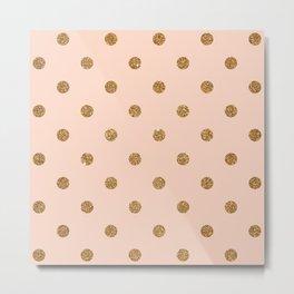 Bisque Gold Glitter Dot Pattern Metal Print