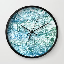 Green blue marble watercolor Wall Clock