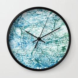 Green blue marble watercolor Wall Clock