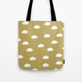 White clouds in green yellow background Tote Bag