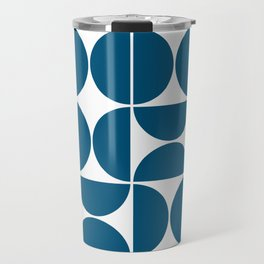 Mid Century Modern Geometric 04 Blue Travel Mug