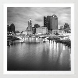 Columbus Ohio Skyline Art - Square Format Black and White Art Print
