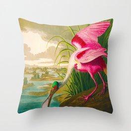 Roseate Spoonbill Bird pink Throw Pillow