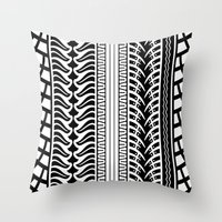 motorbike Throw Pillows featuring Motorbike by Helene Michau
