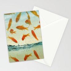 raining gold fish Stationery Cards