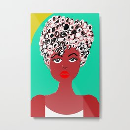 Girl with the curlz Metal Print