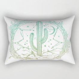 Desert Cactus Dreamcatcher Turquoise Coral Gradient on White Rectangular Pillow