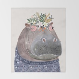Hippo with flowers on head Throw Blanket