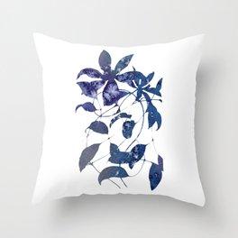 Watercolor Indigo Clematis Vine Throw Pillow