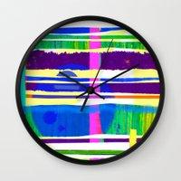 rap Wall Clocks featuring Rice Paper Rap by Vikki Salmela