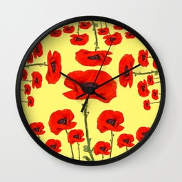 POPPY PIZZA RED-ORANGE  FLORAL DESIGN ON YELLOW ART Wall Clock