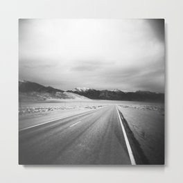 The Loneliest Road - Highway 50 in Nevada in Black and White Metal Print