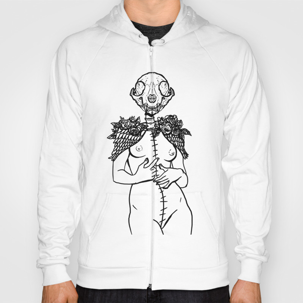 Crazy Cat Lady Skeleton Winged Surreal Figure Hoody by Mromano SSR7609481