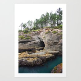 Cape Flattery Cave Ocean Rock Geology Washington Cliff Hiking Forest Trees Art Print