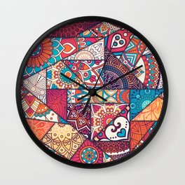 Hand drawn background. Islam, Arabic, Indian, ottoman motifs. Wall Clock