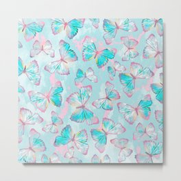 BUTTERFLIES BLUE Metal Print
