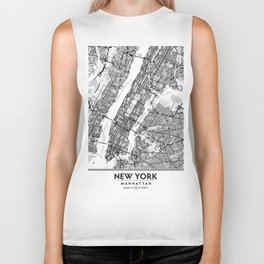 New York City Showing Manhattan, Brooklyn and New Jersey Biker Tank