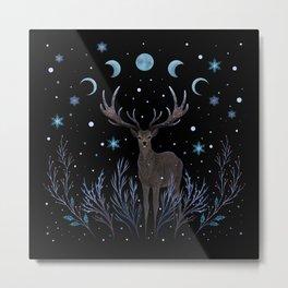 Deer in Winter Night Forest Metal Print