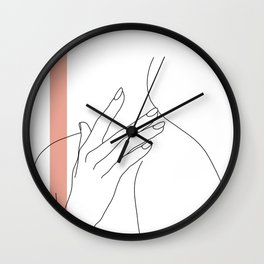 Hands line drawing illustration - Danna stripe Wall Clock