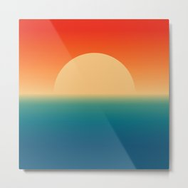 Minimalist Retro Sunset and Sea , 70s Sun in Vintage Rainbow Colors , Mid-century Modern Style Art Metal Print