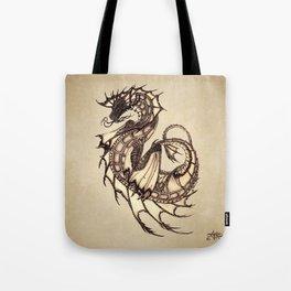 """Tsunami"" by Amber Marine ~ Sea Dragon ~ Graphite & Charcoal Illustration, (Copyright 2005) Tote Bag"
