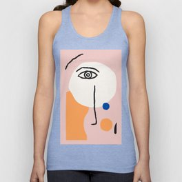 Abstract Art, Line Portrait, Matisse Picasso Style, Neutral Red Abstract Print, Line Drawing, Line D Unisex Tank Top