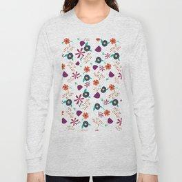 Purple Orange Blue Flower Pattern Long Sleeve T-shirt