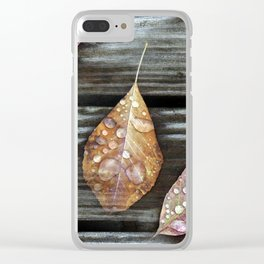 Autumn Leaves with Raindrops Clear iPhone Case