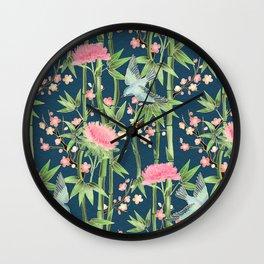 Bamboo, Birds and Blossom - dark teal Wall Clock