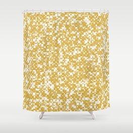 Spicy Mustard Pixels Shower Curtain