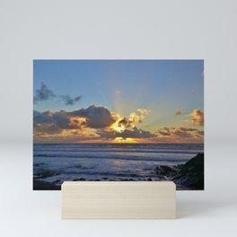 SUNSET SANDYMOUTH BEACH CORNWALL Mini Art Print
