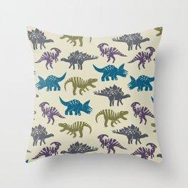 Linocut Dinosaurs - Light Background Throw Pillow