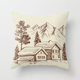 Wood Cabin in Winter Landscape Throw Pillow