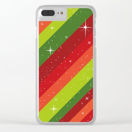 Christmas Pattern, Green, Red, Stars, Snowflakes Clear iPhone Case