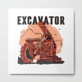 Bucketwheel Excavator construction vehicles Metal Print