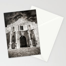 Black & White/Sepia-toned photograph of the Alamo, in San Antonio, TX Stationery Cards