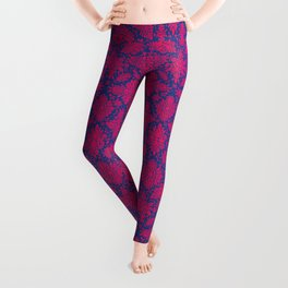 Abstract Hot Pink (Magenta) and Blue Ornate Pattern Leggings