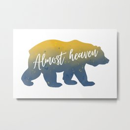 Almost Heaven Bear Watercolor Art Metal Print