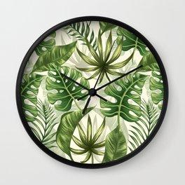 Green tropical leaves Wall Clock