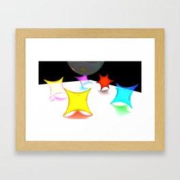 White Neon Framed Art Print