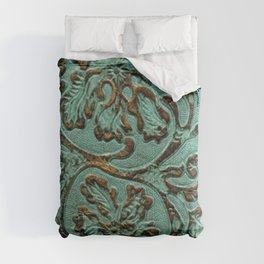 Aqua Flowers Tooled Leather Comforters