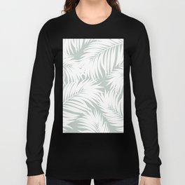 Palm Tree Fronds White on Rainwashed Maui Hawaii Tropical Graphic Design Long Sleeve T-shirt