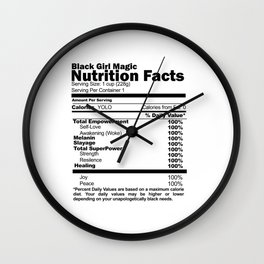 Black Girl Magic Nutrition Facts Wall Clock