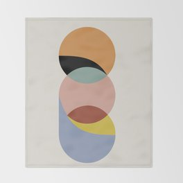 Geometric Harmony - Vintage Rainbow Colors Throw Blanket