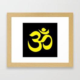 Yellow AUM / OM Reiki symbol on black background Framed Art Print