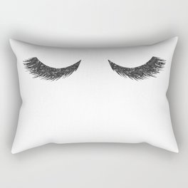 Lashes Black Glitter Mascara Rectangular Pillow